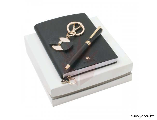 BEAUBOURG. Kit caderno, chaveiro e esferográfica