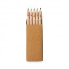 Caixa de cartão com 10 mini lápis de cor