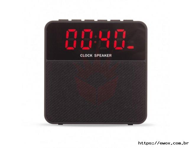 Caixa de Som Bluetooth com Relógio Digital
